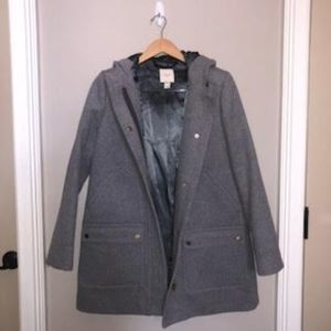 J. Crew Wool City Trench Coat with Silk Lining
